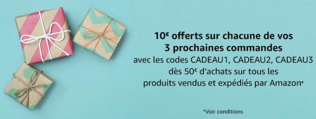 Amazon : 10€ de réduction dès 50€ d'achats sur 3 commandes