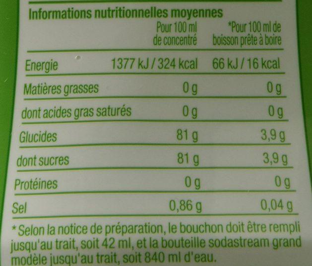 Concentré Limonade Sodastream : informations nutritionnelles moyennes