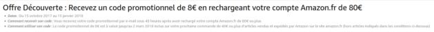 Offre découverte chez Amazon : pour une recharge de 80€, 8€ crédités