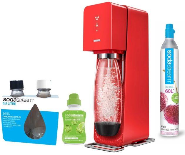 Lot contenant une machine à soda Source Sodastream rouge, 2 bouteilles PET Fuse 0,5L et 1 concentré limonade
