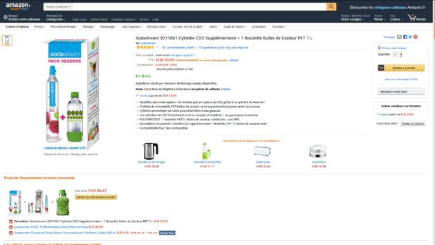 Promotion : cylindre CO2 Sodastream + bouteille bulle couleur à 29€99 au lieu de 36€95