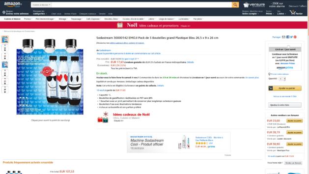 Promotion : lot de 3 bouteilles Emoji Sodastream Fuse 1L à 17€63 au lieu de 19€99