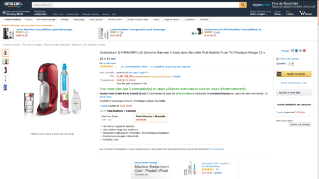 Promotion : la Sodastream Dynamo rouge avec2 bouteilles PET à 59€99 au lieu de 90€25